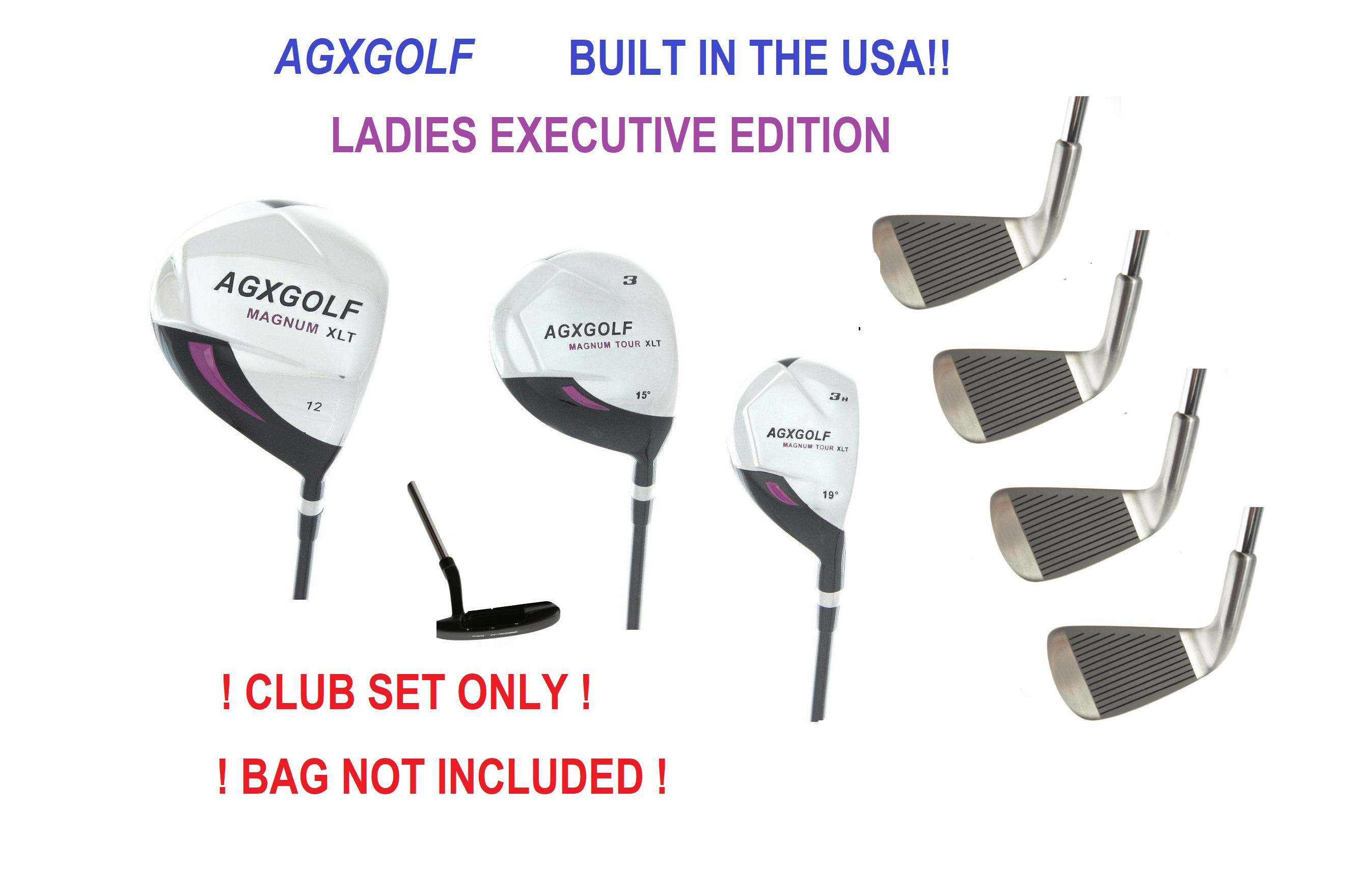 1074d7aeacd1 AGXGOLF LADIES EXECUTIVE EDITION COMPLETE GOLF CLUB SET wPUTTER & HEAD  COVERS: PETITE, REGULAR, OR TALL LENGTH BUILT IN THE USA